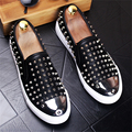 2017 New men's fashion round shoe leather rivet foot hair stylist Nightclub Men's Flat shoes Loafers Casual Shoes US size 8.5