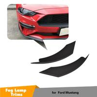 For Ford Mustang 2018 2019 2020 2pcs Car Exterior Front Fog Light Lamp Eyelid Eyebrow Strips Trim Styling Mouldings ABS