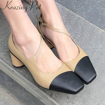 Krazing Pot mixed colors buckle strap med heels vintage square toe hot selling pretty girls hollow pumps movie stars shoes L06