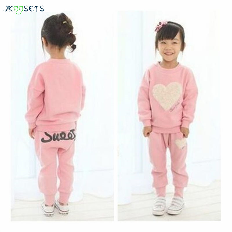 JKBBSETS Autumn Winter Girl Clothing Set Cute Cotton 2PCS Long Sleeve+Pant Heart Pattern Children Kid Clothes For Girl fashion brand autumn children girl clothes toddler girl clothing sets cute cat long sleeve tshirt and overalls kid girl clothes