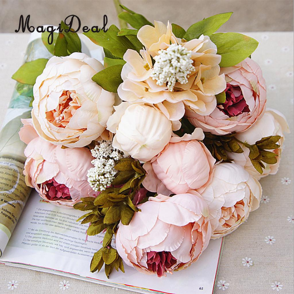 MagiDeal Beautiful Artificial Peony Flowers Wedding Bouquet Silk ...