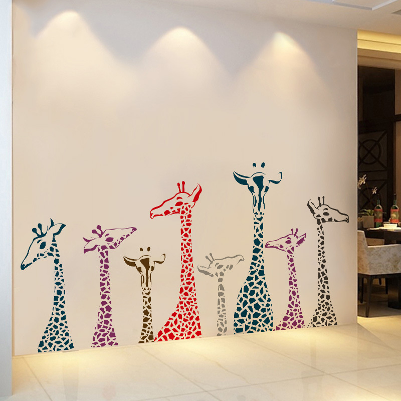 XL Giraffe Removable Self-adhesive Kids Bedroom Decals Living Room Furniture Door Window Wall Stickers Mural Home Decor Art