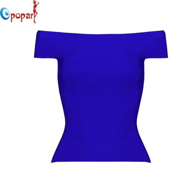 2016 Fashion Women Sexy Slash Neck Bandage Tops Long Style Sheath Stretch Tight Slim Rayon Good Quality Top Drop Shipping HLT555