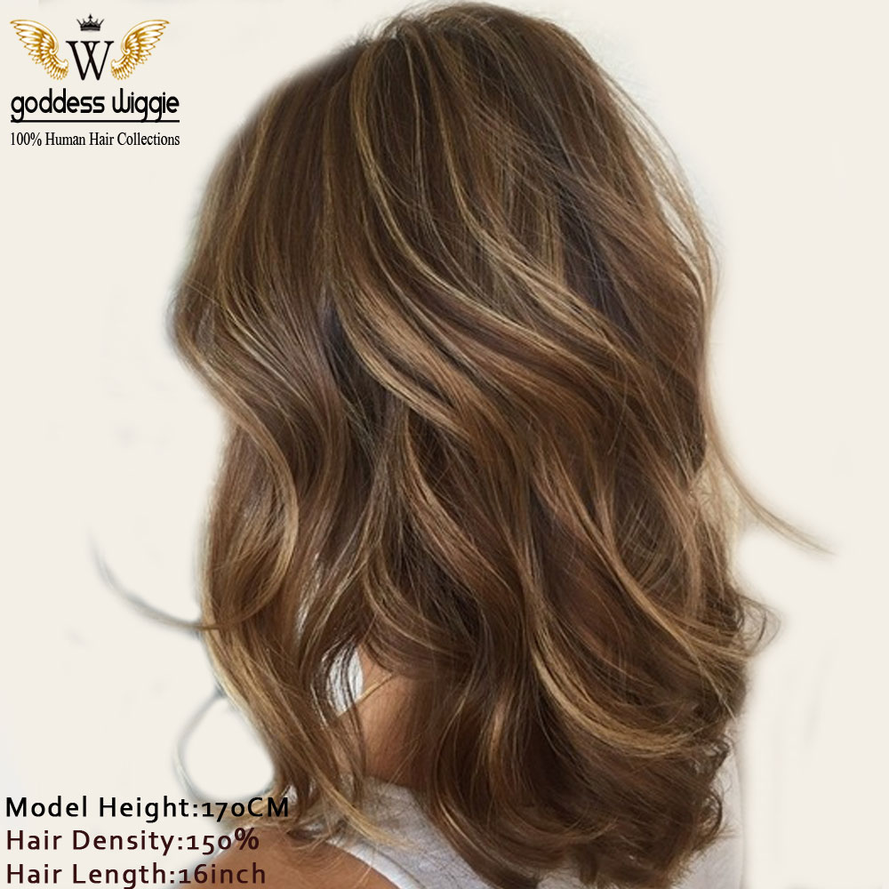 5a Highlight Brown Human Hair Wigs Short Wavy Brown Lace Front Wigs Soft Wavy Highlight Remi