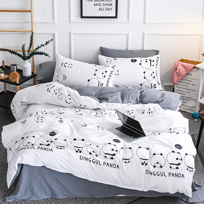 Cartoon Kids Bedding Set US Twin Size Comforter Cover Sets Giant panda Bedclothes Bed Linen For Children