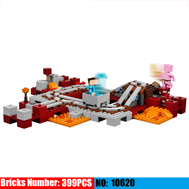 399pcs My World Series 10620 The Nether Railway Building Blocks Compatible 21130 Kids DIY Brick Toy Christmas Gift
