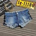 2016 mulheres de verão rendas plus size denim cowboy hot shorts mulher cintura alta hip jeans magros shorts S-XL