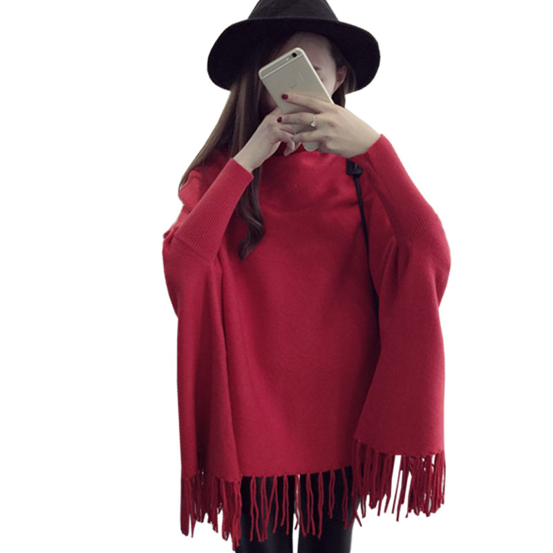 Sweater women 2016 high collar fringed cloak bat sleeve long shirt spring autumn Korean sweaters shawl clothing vestidos MMY234