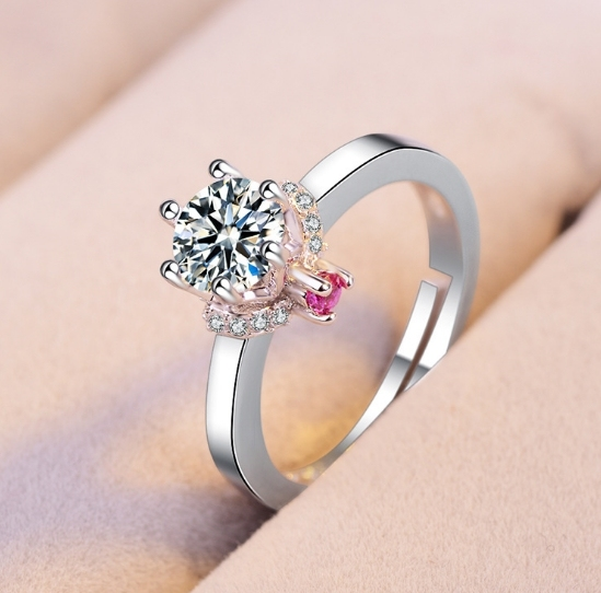 US $1 0 |Classic six claw single diamond ring Personalized Custom Design  Print on Demand Dropshipping Shopify WooComme-in Rings from Jewelry &