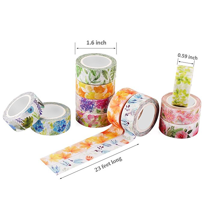 Romantic Floral Paper Washi Tape 15mm*7m Flowers Masking Tapes Decorative Stickers DIY Stationery School Supplies 2