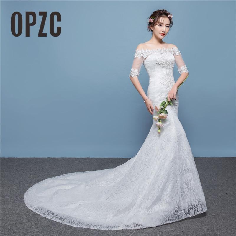 off Shoulder Beautiful 2020 vestido de noiva Simple Half Sleeve Mermaid Wedding Dress Lace Embroidered Beading for weding