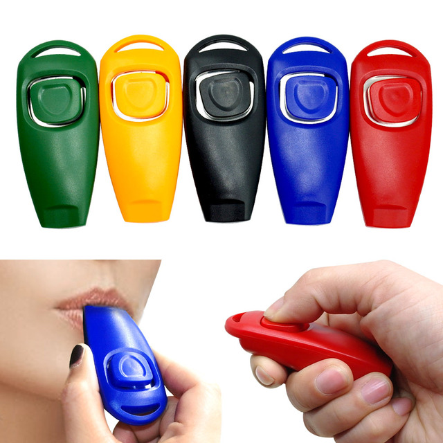Dog Training Accessories Whistle Clicker Pet Cat Training Clicker with Whistle 5 Color Pack Pet Training Product Dog  Repeller