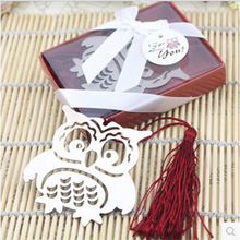 Bookmarks Wedding-Favor-Gifts Stainless-Steel Metal Hollow-Out with Tassels 10pcs/Lot