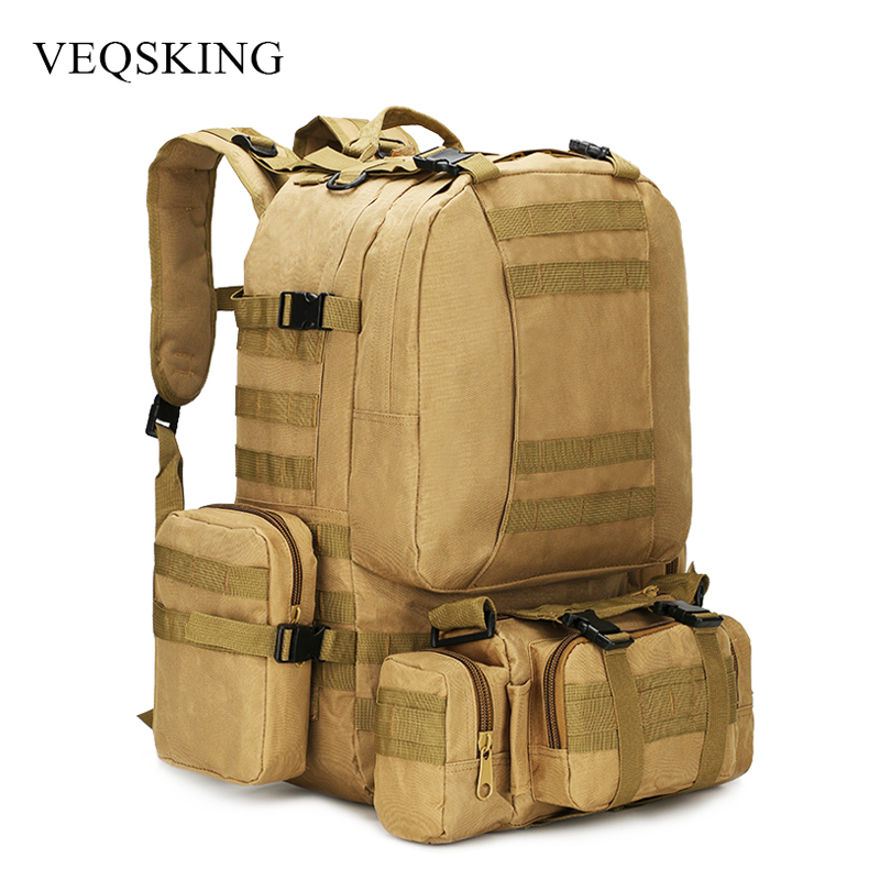4 In 1 50L Molle Tactical Military Backpack, 600D Nylon Camping Hiking Backpack, Waterproof Camo Climbing Bag 4 Colors outlife new style professional military tactical multifunction shovel outdoor camping survival folding spade tool equipment
