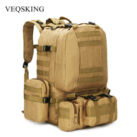 4 In 1 50L Molle Tactical Military Backpack, 600D Nylon Camping Hiking Backpack, Waterproof Camo Climbing Bag 4 Colors