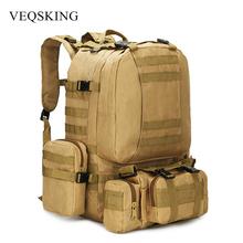 Plecak taktyczny 50L męski plecak wojskowy 4 w 1Molle sportowa torba taktyczna odkryty piesze wycieczki wspinaczka plecak wojskowy torby kempingowe tanie tanio VEQSKING CN (pochodzenie) 81019-1 Unisex Large Capacity Backpack Miękka 600d Army Green Black Khaki Camouflage 50cm*30cm*22cm 19 68 x11 81 x8 66