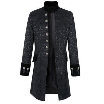 Men Steampunk Brocade Jacket Vintage Long Sleeve Gothic Steampunk