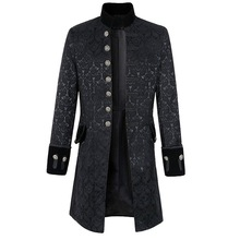 HEFLASHOR Men Brocade Top Male Long Sleeve Jacket Gothic Steampunk Vintage Victorian