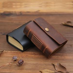 Image 2 - Mini diário de bolso feito à mão, diário para caderno de couro para viagem, diário, sketchbook, presente de aniversário, escola criativa vintage