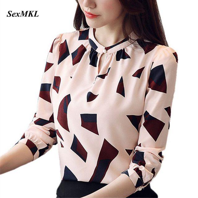 S-XXL Women's Shirts Spring 2020 Fashion Summer V-neck Long Sleeve Blouse Sexy Tops Office Lady Printed Blouses Chiffon Shirts 1
