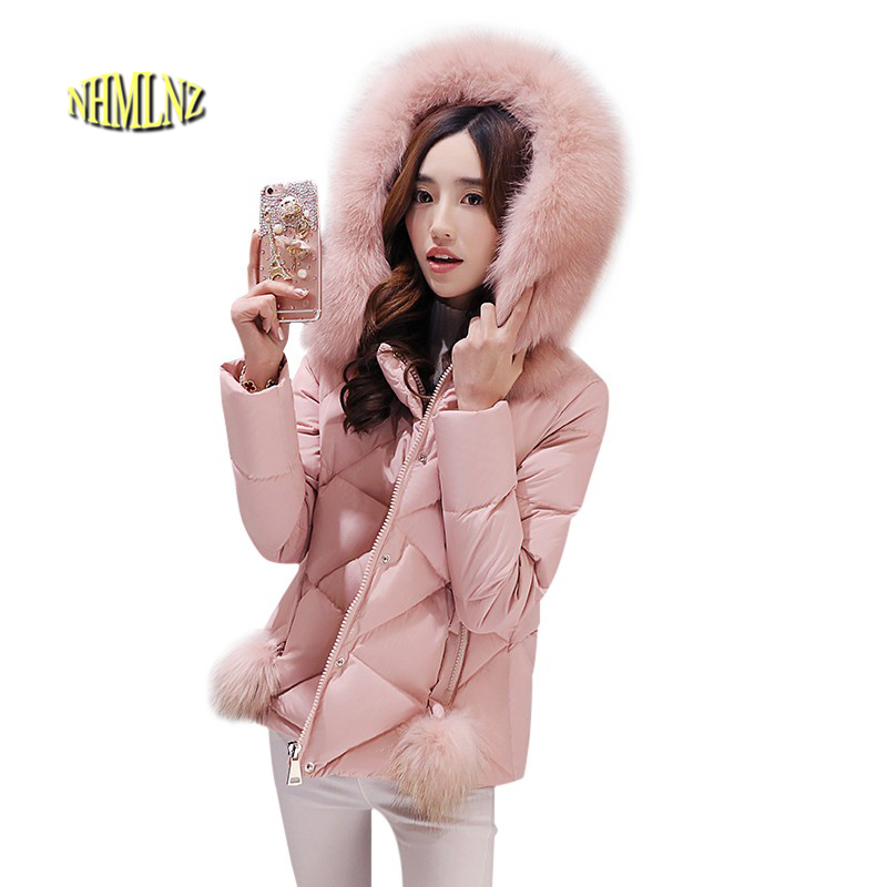 Winter Warm Jacket Latest Fashion Women Cotton Down jacket Slim Large size Casual Women Jacket Hooded Fur collar Jacket G2864