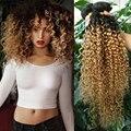 4 Пучки Монгольский Вьющиеся Плетение афро Волосы курчавые волосы вьющиеся два тон 1b #27 или 30 два тона ломбер человеческих волос вьющиеся переплетения