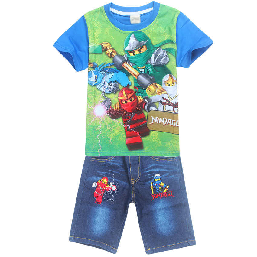 b10332fd222 ... Summer Children Baby Boys Cartoon Clothes Sets Kids Character Short  Sleeve Shirt Ninjago Printed Clothing Sets ...