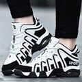 Aire Superior De alta Deporte Basket Zapatos Hombres de Gran Tamaño 45 Cuero de LA PU ocasional Zapatos Para Caminar Correr Entrenadores Superestrella Tenis Femenino negro