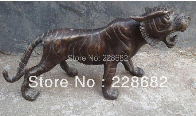 Rare Cinese Folk intagliato A mano Tigre Rame Sculture 28*12 cm di Trasporto liberoRare Cinese Folk intagliato A mano Tigre Rame Sculture 28*12 cm di Trasporto libero