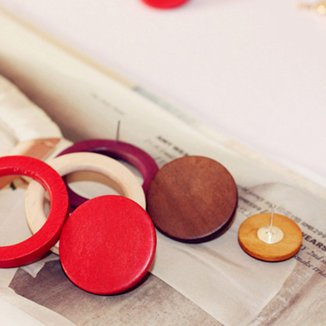 Handmade Small Orange Round Natural Wood Stud Earrings