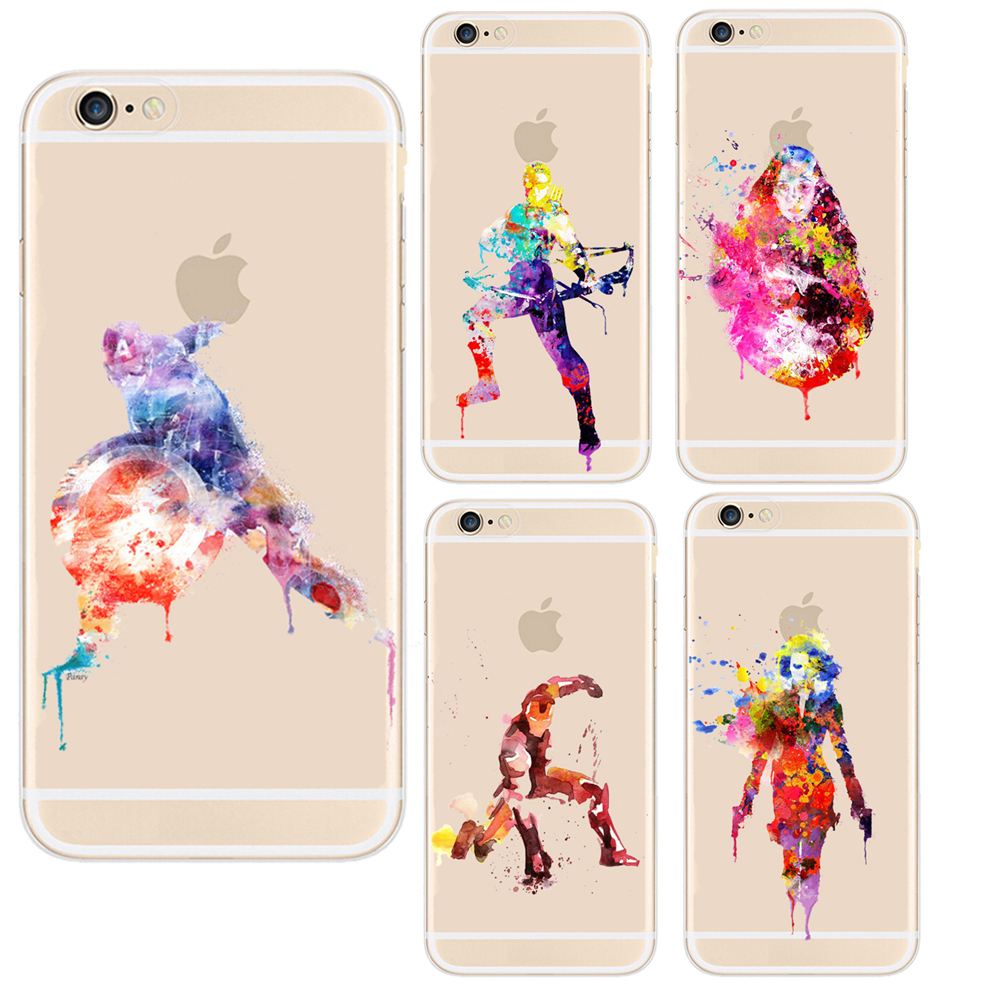 buy online 303f8 0eedb Soft TPU Cell Phone Case Funda Marvel the Avengers Superheroes Watercolor  Clear Cover Case For Apple iPhone 6 6S 7 8 Plus
