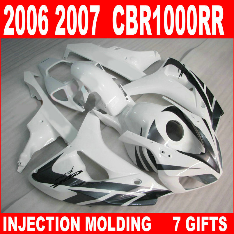 New hot moto parts fairing kit for Honda CBR1000RR 06 07 white black injection mold fairings set CBR1000RR 2006 2007 RA19 injection mold fairing for honda cbr1000rr cbr 1000 rr 2006 2007 cbr 1000rr 06 07 motorcycle fairings kit bodywork black paint