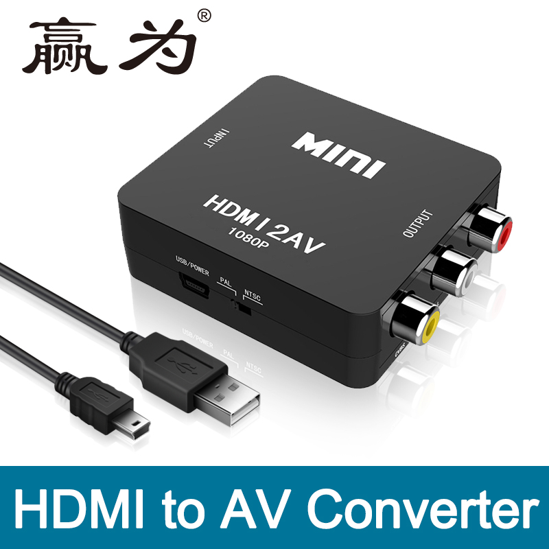 HDMI to RCA AV Converter HDMI to AV adapter Android TV Smart Box Laptop Chromecast for 1080P 720P 480P NTSC/PAL HDMI2AV mt viki hdmi to av converter digital to analog rca video adapter box high quality with pal ntsc switcher