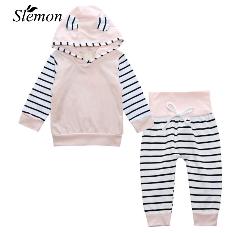 2 pcs Set Spring Autumn 2018 Baby Toddler Boys Girl Long Sleeve Hooded Tops + Striped Pants Outfits Infant Kids Cute Ear Clothes 2pcs children outfit clothes kids baby girl off shoulder cotton ruffled sleeve tops striped t shirt blue denim jeans sunsuit set