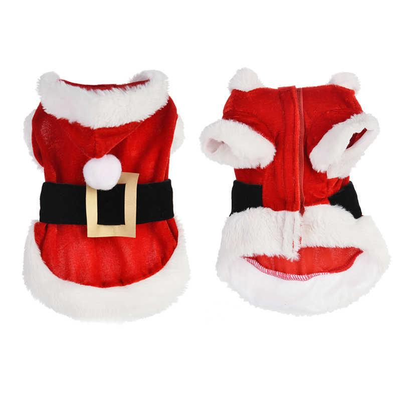 Santa Pet Dog Costume Di Natale Vestiti per Cani di Piccola Taglia Del Cane di Inverno Cappotto Con Cappuccio Giubbotti Cucciolo Gatti, Abbigliamento Chihuahua Yorkie Vestito
