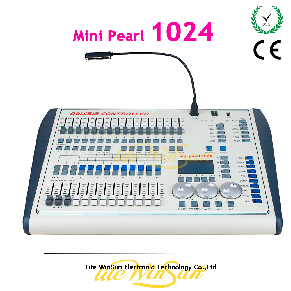 Litewinsune Mini Pearl 1024 DMX Controller For Moving Head Light DMX Lighting Controller With FASE,WAVE DMX Controller New dmx512 digital display 24ch dmx address controller dc5v 24v each ch max 3a 8 groups rgb controller