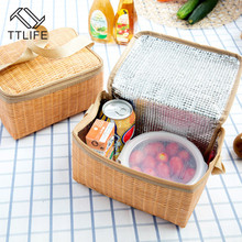 TTLIFE Portable Zipper Tote Outdoor Travel Organizer Imitation Rattan Lunch Storage Bag Box Insulated Thermal Unisex