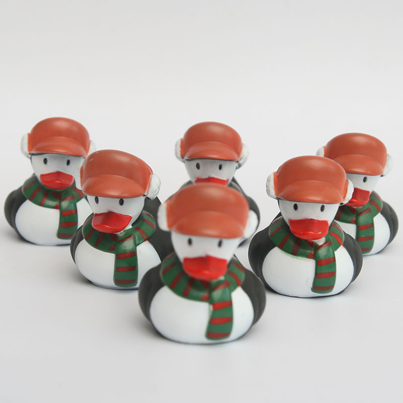 6pcs plastic congnitive floating toy Christmas snowman rubber duck baby bath toys making the bath time mare interesting