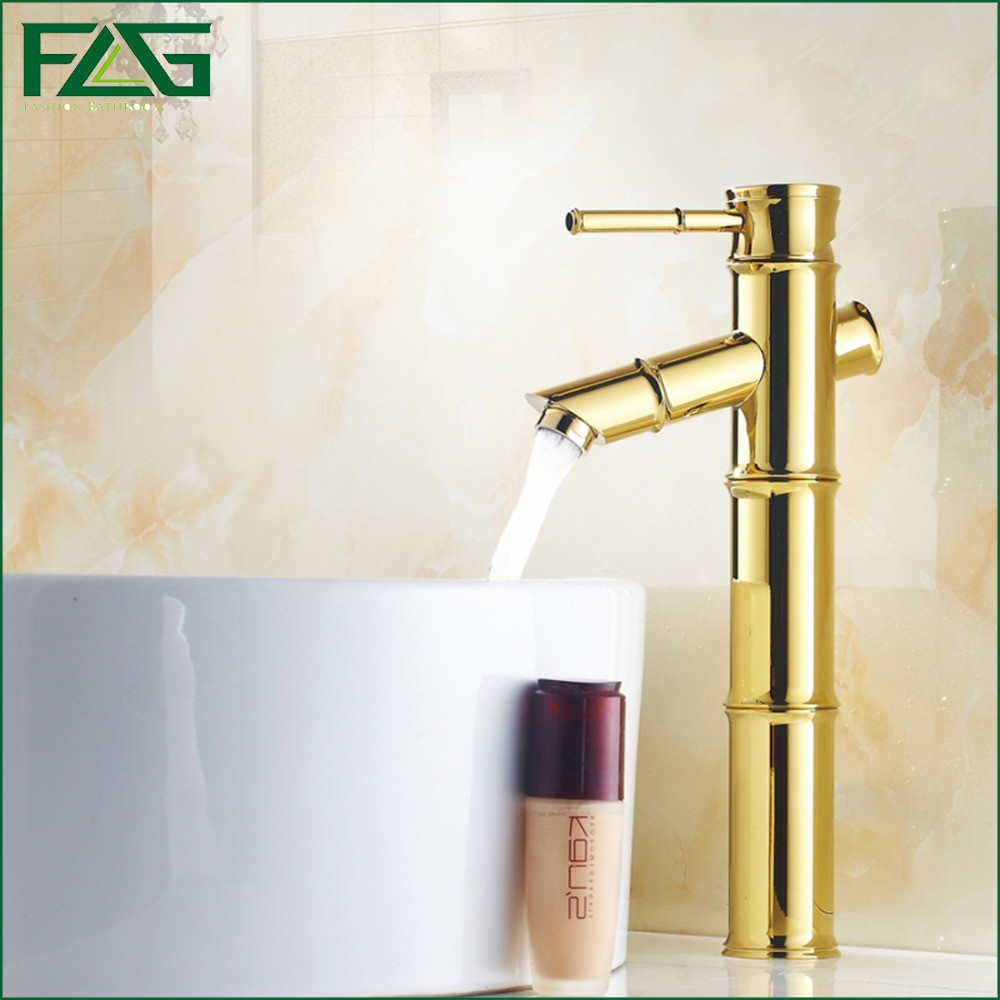 ФОТО FLG Contemporary Basin Faucet Bamboo Shape Design Gold Bathroom Faucets Monster Cold &Hot Wasserhahn Vanity Sink Water Taps M119
