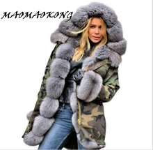 Women winter warm natural large fox fur collar real fur parka with luxury rex rabbit fur liner camouflage parka jacket