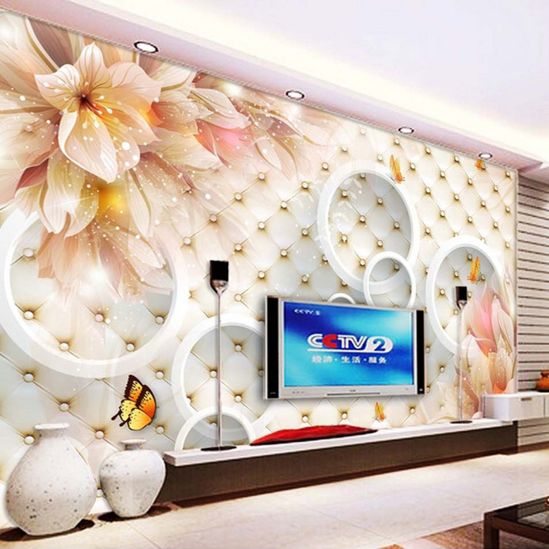 Custom Photo Wallpaper 3D Stereoscopic Circles Flowers Mural Wall Painting Living Room Sofa TV Background Home Decor Wall paper наклейки skoda fabia octavia spaceback roomster