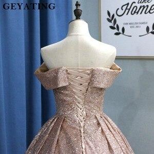 Image 5 - Świecący Ombre szampana srebrny cekin suknie balowe 2020 dubaj Glitter suknia balowa Party Dress Sweetheart sąd pociąg suknie wieczorowe