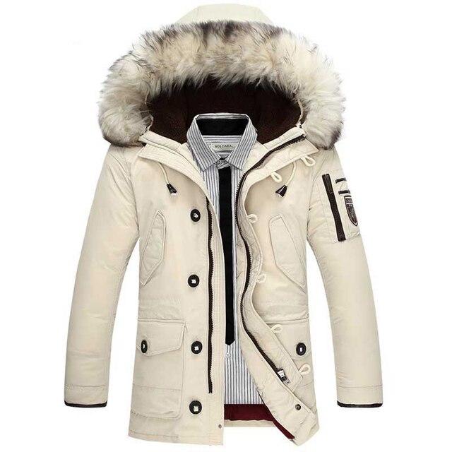 2017 Новинка зимы Для Мужчин's Подпушка куртка мода Повседневное с капюшоном толстый теплый длинное пальто Мех животных Куртка с воротником