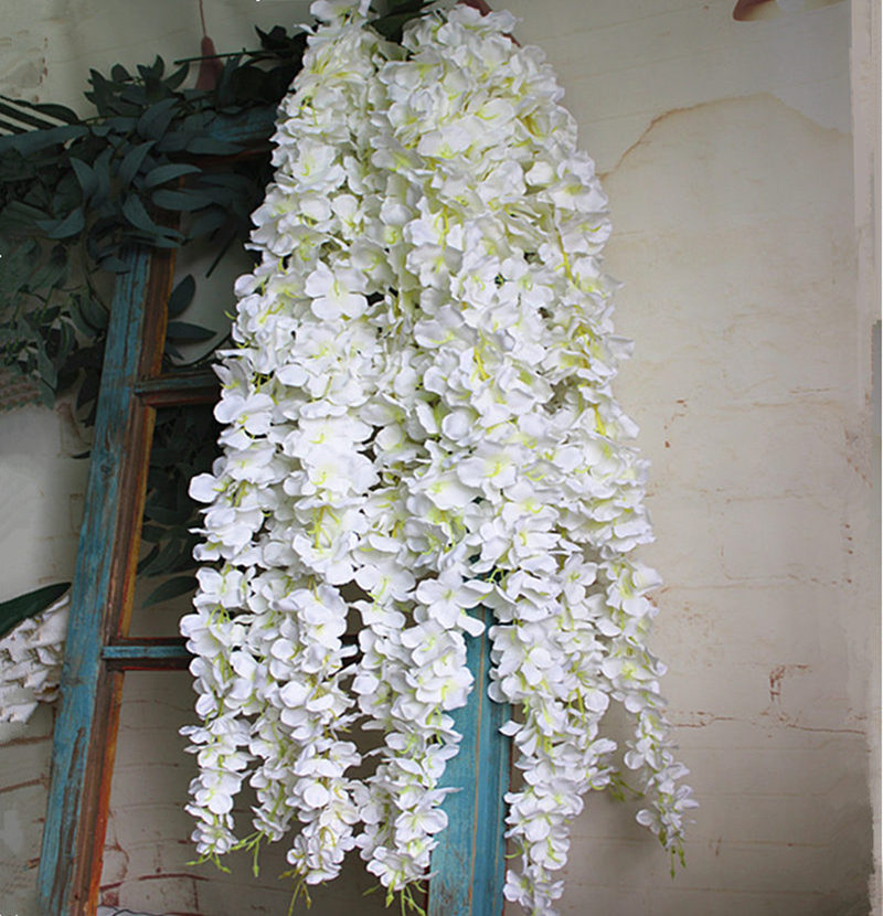 Wholesale White Wisteria Flower Rattan With Leaves Silk Artificial Flowers Celing Wall Hanging Flower Vine Wedding Decoration