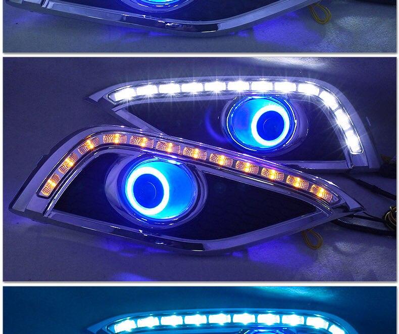 eOsuns COB Angel eye +LED daytime running light  DRL +turn signal +blue night light +Fog Lamp with Projector Lens for honda crv 2x 1156 led light cob led ba15s fog lamp daytime running light drl bulb h11 h7 h4 hb4 car signal reverse light bulb cob 20w led