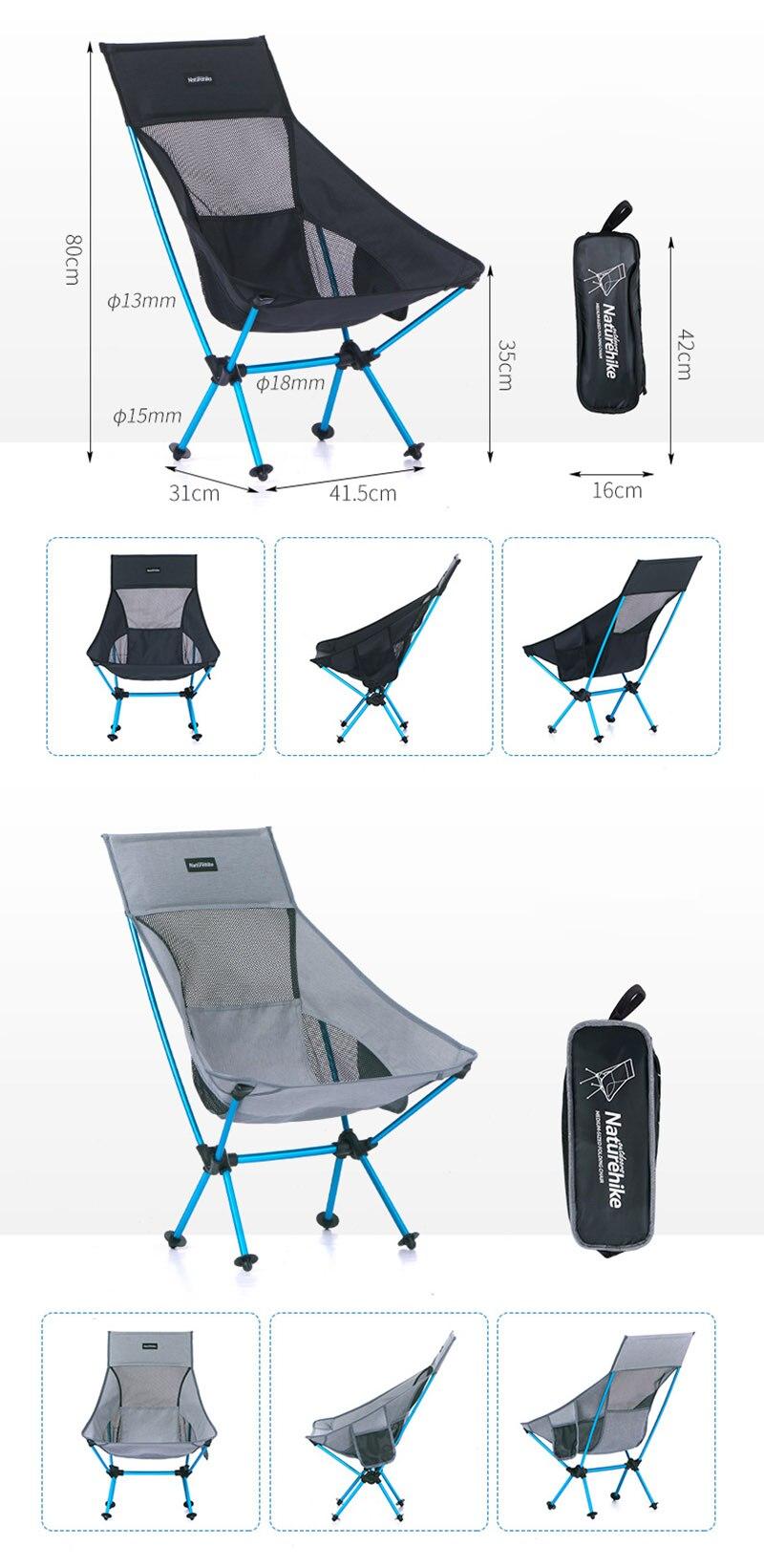 Portátil Dobrável Cadeira de Back-resto Acampamento Leve