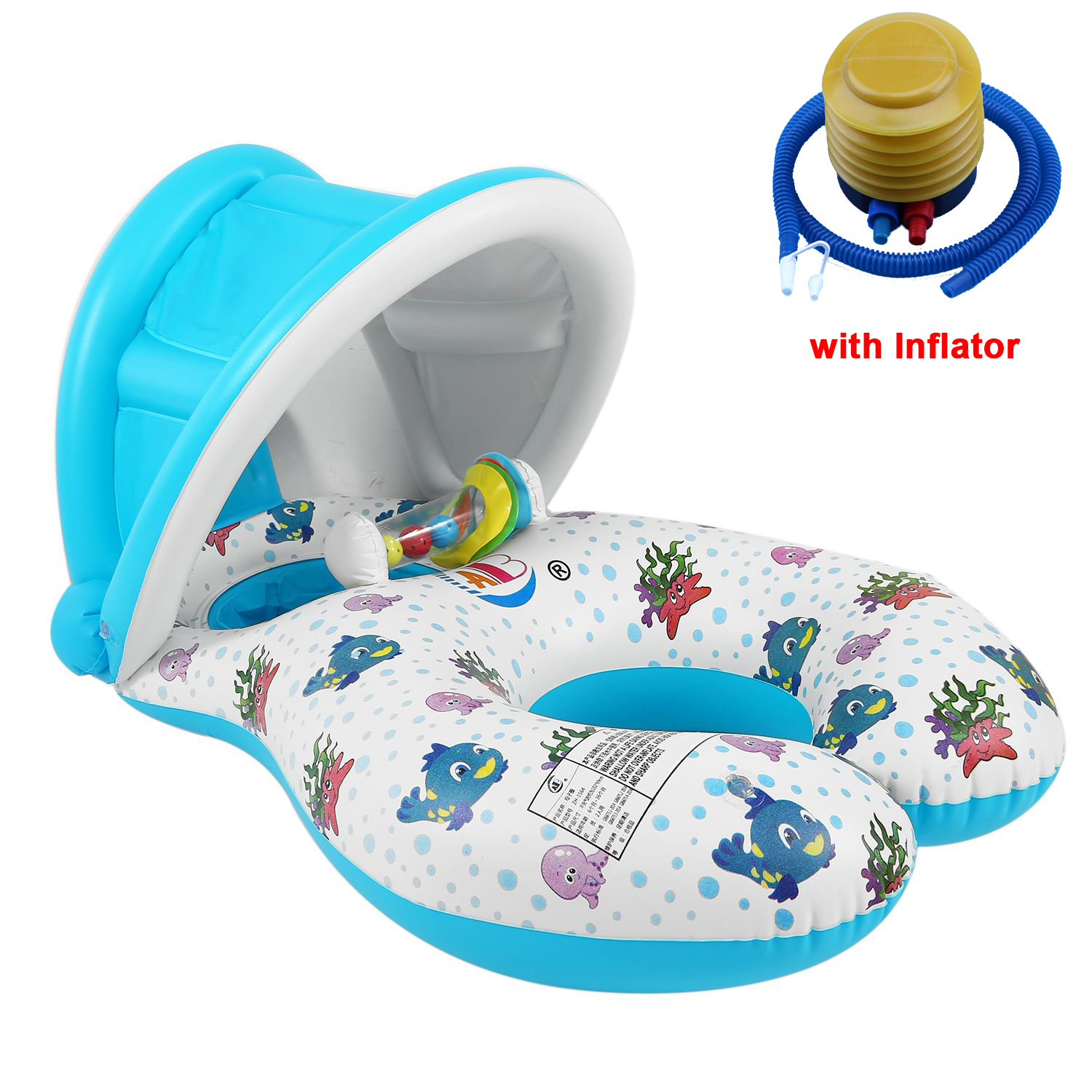 Shade Safe Soft Inflatable Mother&Baby Swim Float Boat Ring Kids Seat Double Person Swimming Pool Water Fun Toys Outdoor Sport