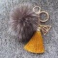 Harry Potter Luna Triangle Deathly Hallows Pendant Necklace Fox Plush Pompom Fur Ball Keychain with Colors Silk Tassel Bag Charm
