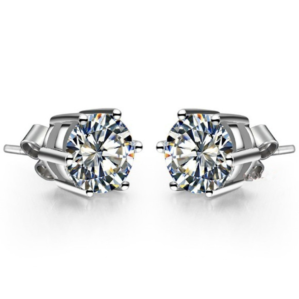 Piece Classic 6 Prongs Earrings Gold Lovely Diamond  Stud Earrings For Women Sterling Silver Jewelry 18k White Gold Plated From