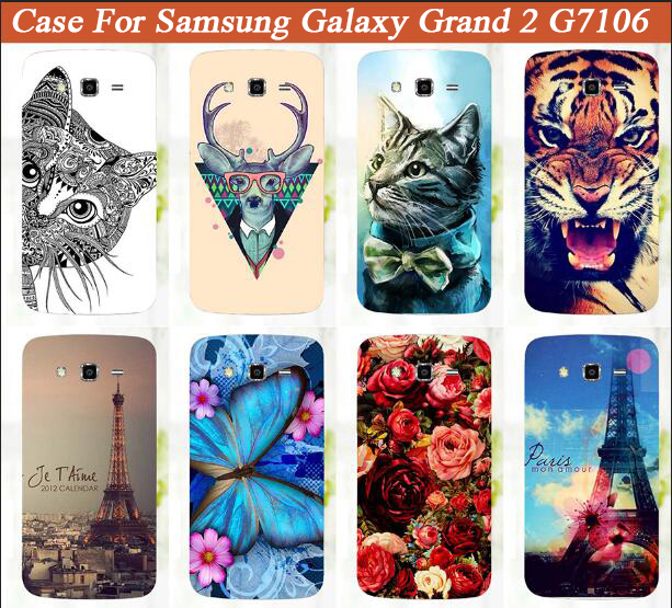 Hot Diy Painting Colored Tiger Owl Hard PC Case For Samsung Galaxy Grand 2 Duos G7100 G7105 G7106 SM-G7102 G7102 Cover Bags image